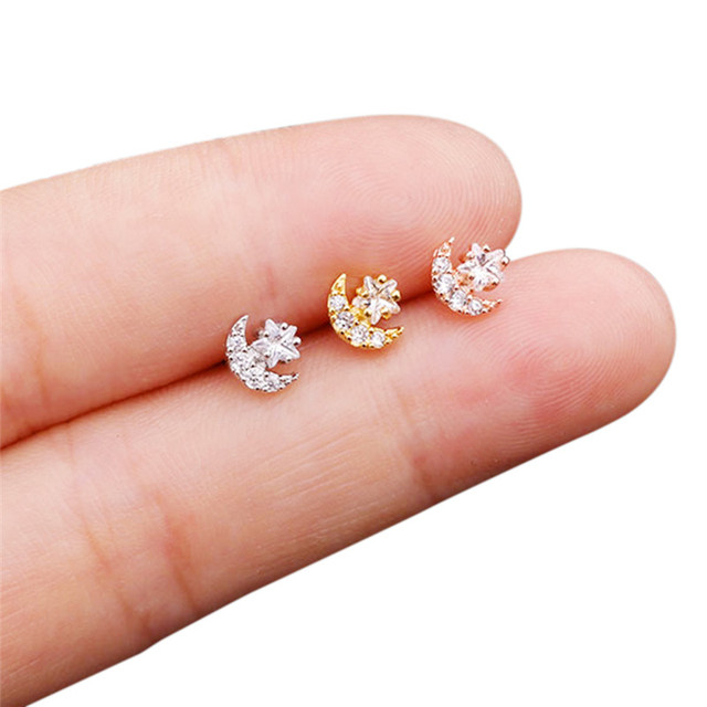 20G Stainless Steel CZ Flower Star Moon Small Cartilage Stud Earring Tragus Rook Conch Helix Piercing.jpg 640x640 - 20G Stainless Steel CZ Flower Star Moon Small Cartilage Stud Earring Tragus Rook Conch Helix Piercing Jewelry Women Accessories