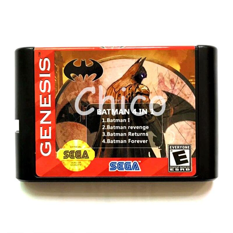 4 in 1 Batman 1 Forever Return Revenge Save Progress 16 Bit Game Card for Sega