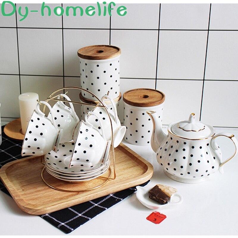 Nordic Phnom Penh Dot Linea Verticale di Caffè di Ceramica Set da Tè Ristorante Per La Casa Bone China tazza di Caffè Pentola di Supporto di Tazza di Tè Del Fiore