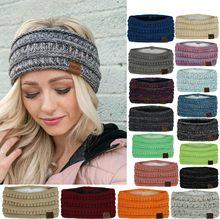 Inverno mais quente malha bandana turbante para senhora feminino crochê arco largo estiramento hairband headwrap acessórios para a menina