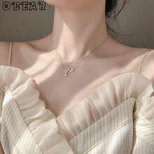 OBEAR-collier en Zircon plaqué argent pour femmes, courbes de cœur, tour de cou, cadeau, couleur argent