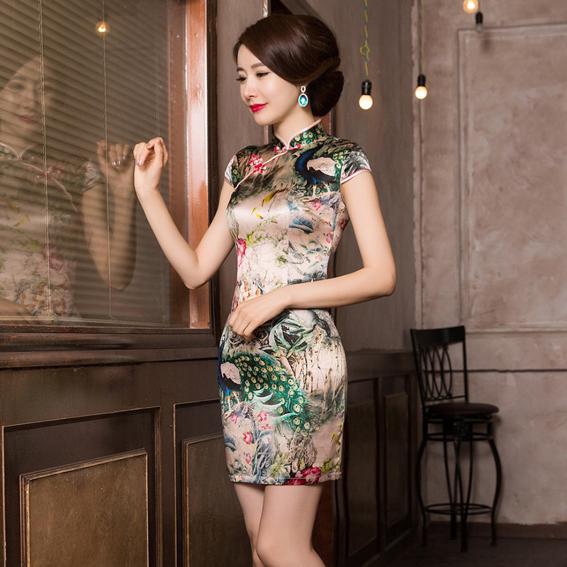 Vestido De Debutante Summer Chinese Wind Peacock Silk Cheongsam Skirt To Show Thin Banquet Dress Cultivate Morality Wholesale