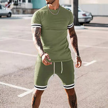 Summer Casual Two Piece Set For Men Sports O Neck Tops And Drawstring Shorts Outfits Fashion Striped Letter Print Mens Tracksuit