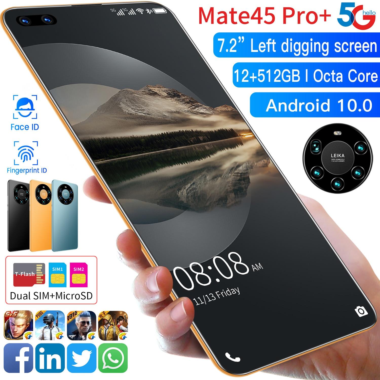 Global Version Mate45 Pro+ 7.2 Inch Smartphone Full Screen Octa Core 24MP + 48MP 8GB 256GB 4G LTE 5G Network Mobile Phone