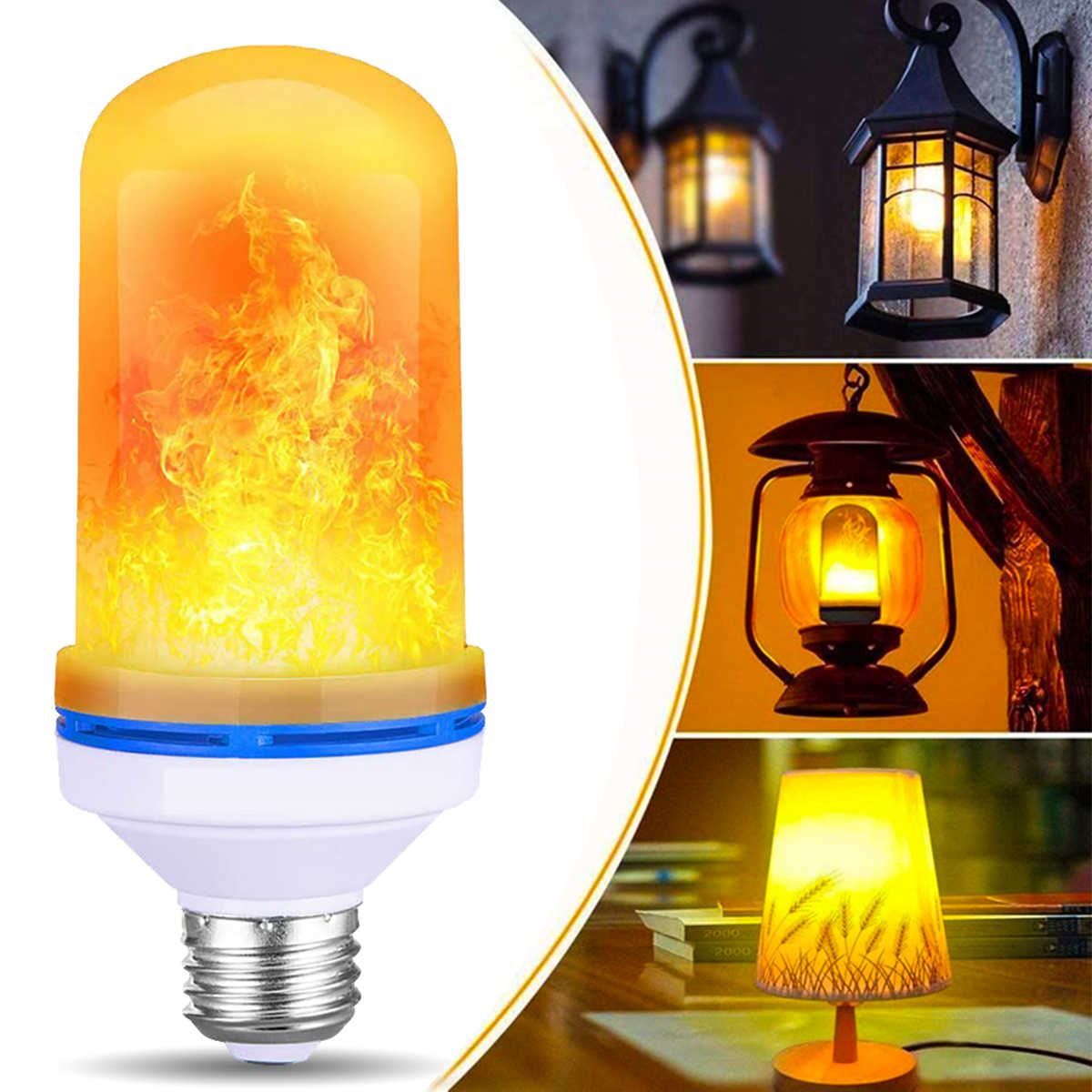 LED Flame Effect Fire Light Bulb E27 base - Upgraded 4 Modes Flickering Fire Holiday Light Halloween Decorations,Home,Festival