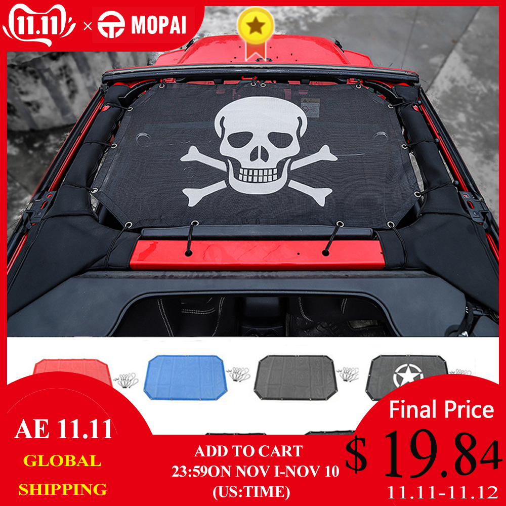 MOPAI 2/4 Door Car Roof Mesh Bikini Top Sunshade Cover UV Sun Shade Mesh for Jeep Wrangler JK 2007 2017 Car Accessories Styling-in Car Covers from Automobiles & Motorcycles