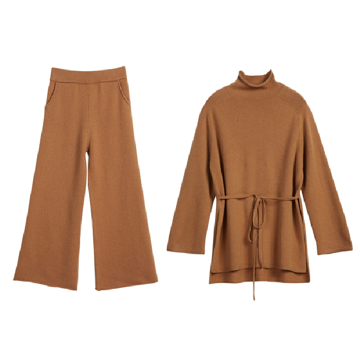 Plus Size Knitted 2 Piece Sets Outfits Women Turtleneck Pullover Sweaters And Wide Leg Pants Suits Autumn Winter Elegant Sets 37