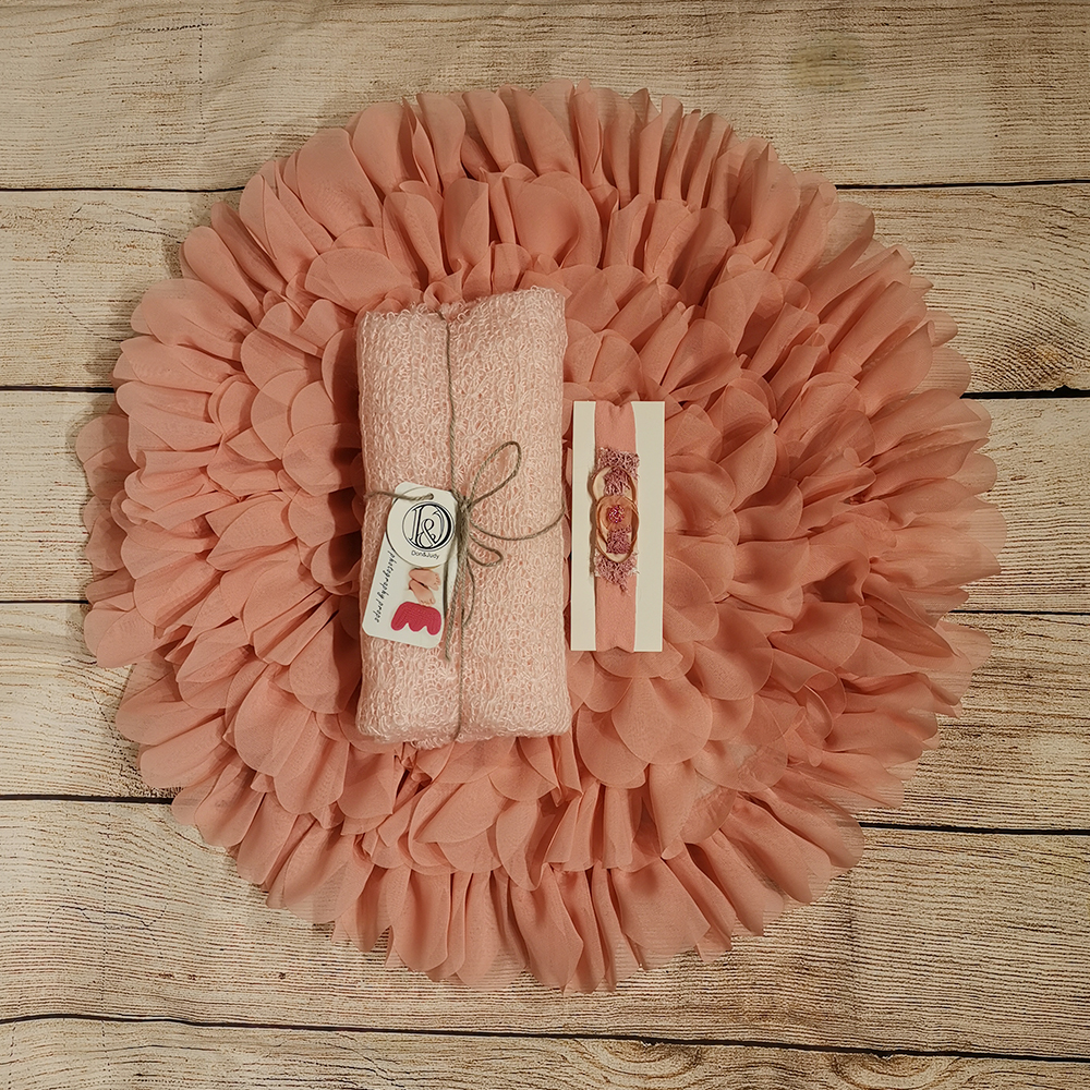 50cm Flower Style Mat Soft Chiffon Cushion+ 150*40cm Stretch Mohair Knit Wrap+matched Headband For Newborn Photography Props