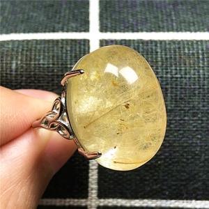 Image 3 - 100% Natuurlijke Goud Haar Rutielkwarts Ring Voor Vrouw Dame Man Liefde 23X16 Mm Kralen Zilver Crystal Verstelbare ring Sieraden Aaaaa