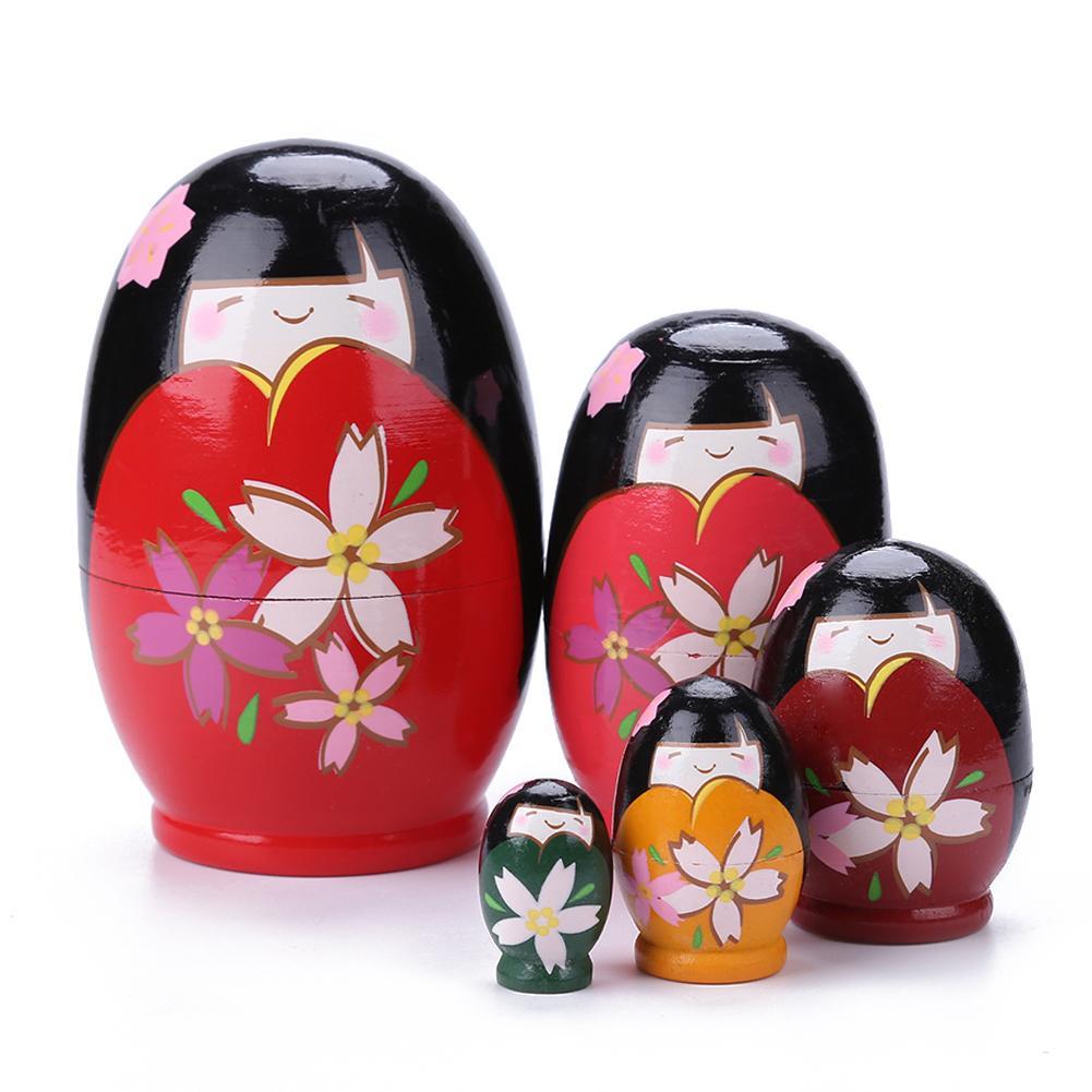 5 stücke Schöne Holz Mädchen Russische Matryoshka Puppen Rot Spielzeug für Dekoration