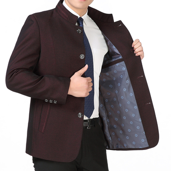 Autumn Spring Mens Chinese Style Daddy Jacket Stand Collar Blazers Jacket Single Breasted Bigger Size Coat T59