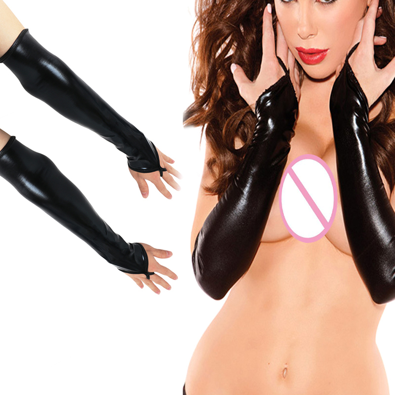 Sexy Long Black Metallic Feel Gloves Synthetic Leather Arm Sleeves Costume New