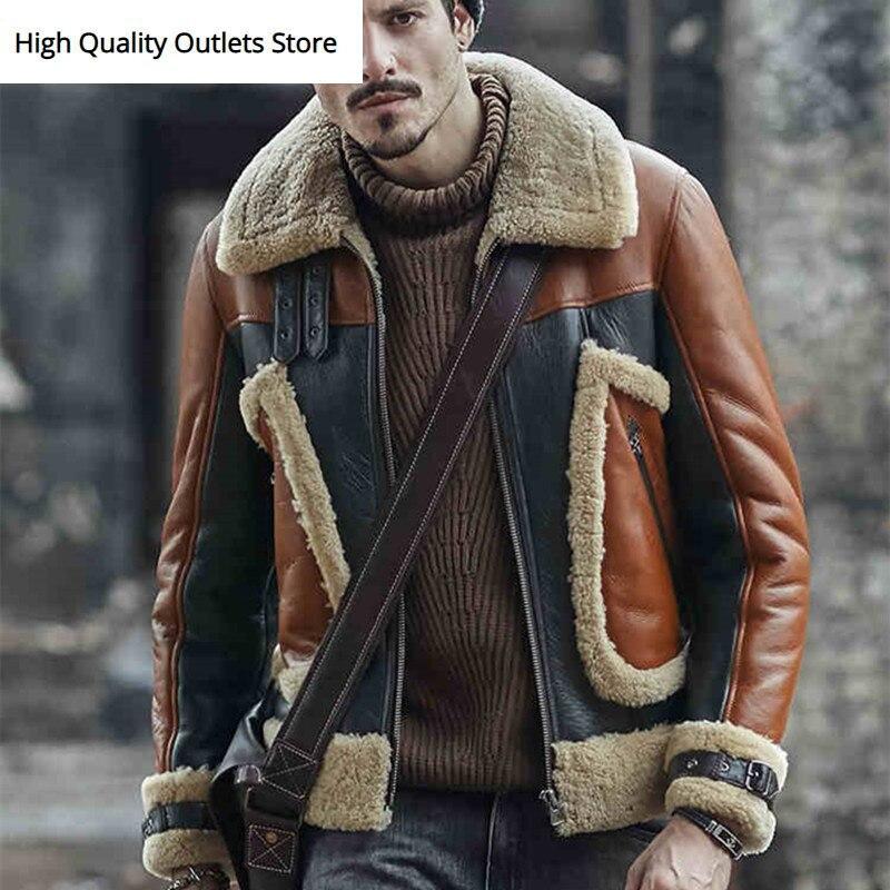Men Sheepskin Coat Men's Genuine Leather Jacket Fur Coats Outerwear Shearling Fashion Trend Winter Jackets
