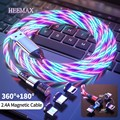 2M 540 Magnetic Micro USB Type C Cable Glow LED Lighting Magnetic Cable USB Charger Cable for iPhone 12 11 Huawei Xiaomi mi 11