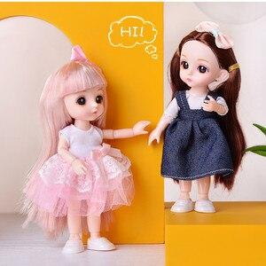 13 совместных Movable1/12 16 см мини BJD кукла игрушка для девочек DIY Наряжаться кукольная одежда и * 20 аксессуары для макияжа для девочек развивающая...