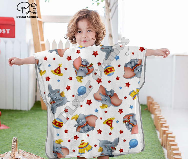 Cartoon Cute Cartoon Dumbo Hooded Baby Boys And Girls Towel Wearable Bath Towel For Kids Travel 3D Print Beach Towels Style-7