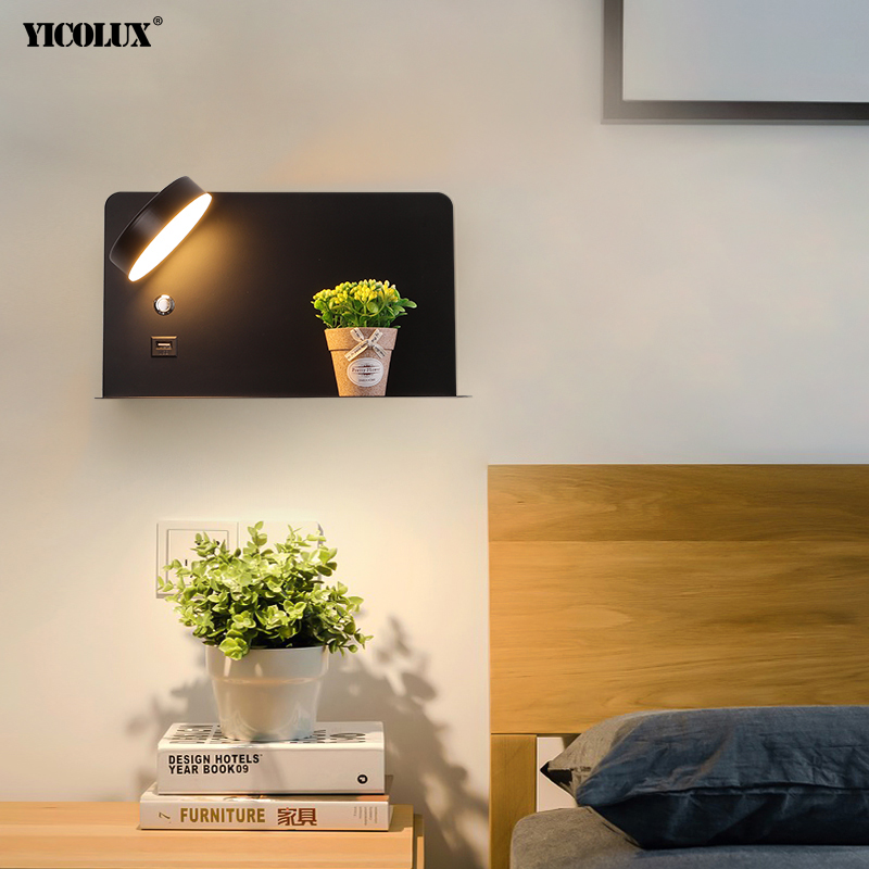 LED Wall Lights With Switch And USB Interface Fashion White Black Lamp Fixture Corridor Aisle Lighting Art Luminaire Wandlamp