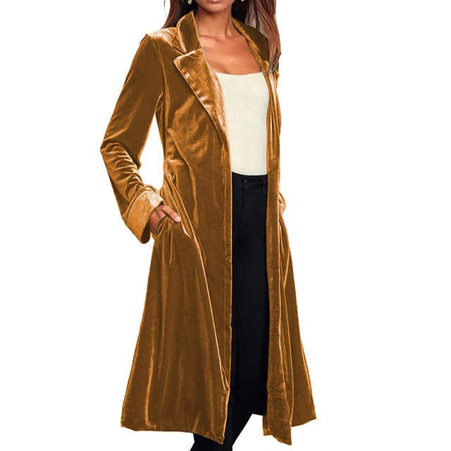Bandage Women Trench Coat Casual Long Coat Cardigan Long Sleeve Gold Velvet Coat Women Clothes Outerwear Overcoat moda mujer
