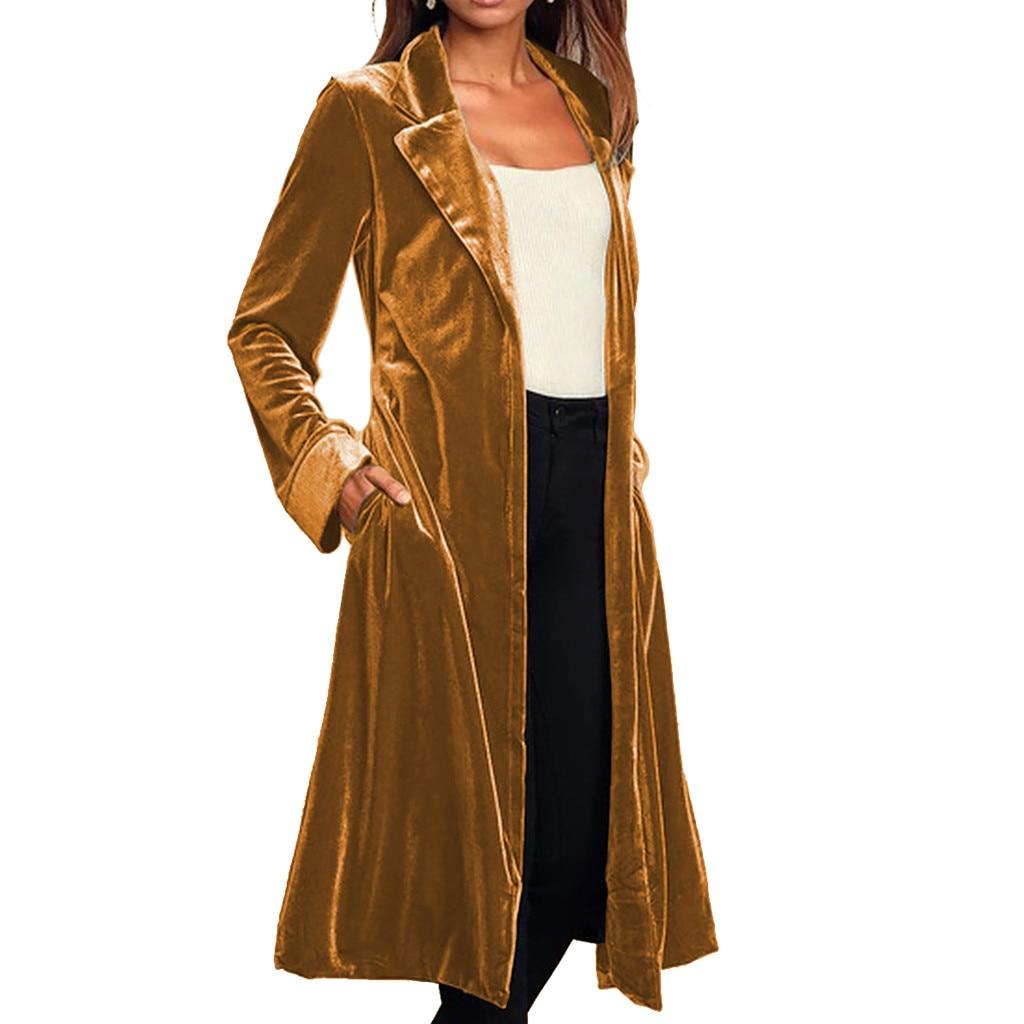 Bandage Women Trench Coat Casual Long Coat Cardigan Long Sleeve Gold Velvet Coat Women Clothes Outerwear Overcoat moda mujer