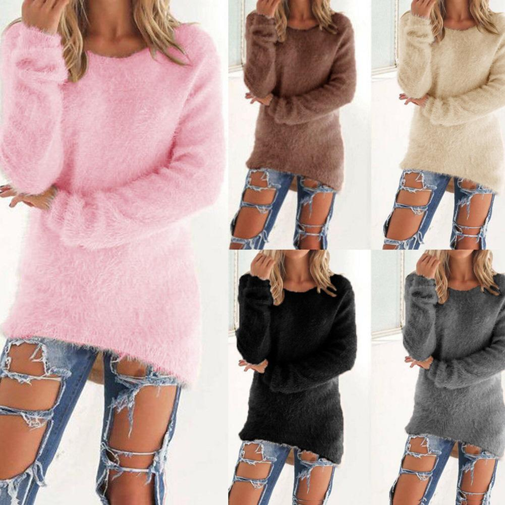 Sweater Women Fleece Loose Winter Warm Long Sleeve Sweater Solid Color Large Size Casual Pullover Women Sweater Top