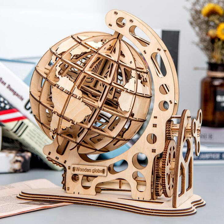 Wooden Globe Puzzles 3D DIY Mechanical Drive Model Transmission Gear Rotate Puzzles Decoration Adults toys for children 2