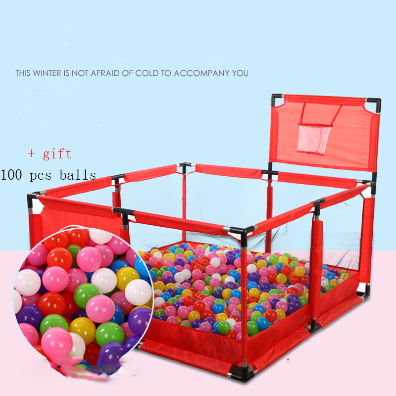 Convenient Folding Detachable Children's Playpen Baby Fence +100 Pcs Balls Size 126*126*65cm