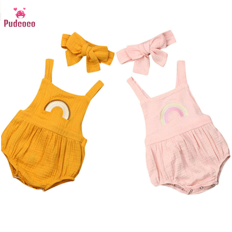 Pudcoco Newborn Infant Baby Girls Rainbow Rompers Summer Sleeveless Jumpsuit Playsuit Baby Girls Costumes