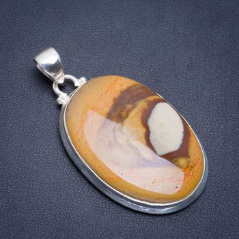 "Natural Wooden Jasper Handmade Unique 925 Sterling Silver Pendant 1.75"" A1818"