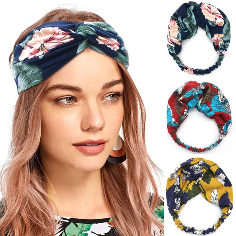 Women Girls Summer Bohemian Hair Bands Print Headbands Vintage Cross Turban Bandage Bandanas HairBands Yoga Hair Accessories