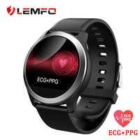 LEMFO ekg PPG inteligentny zegarek z elektrokardiografem wyświetlacz ekg monitor ciśnienia krwi IP68 wodoodporny dla kobiet mężczyzn