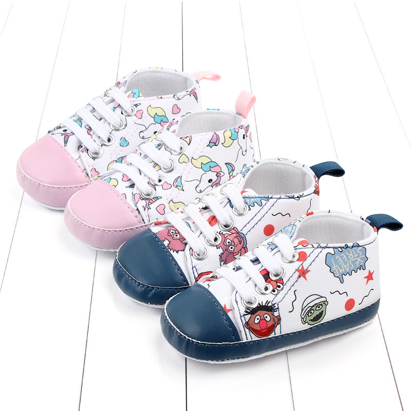 Unicorn Graffiti Newborn Baby Girl Boys Shoes Soft Shoes Monster Printing Infant Toddler Hard Bottom Crib Shoes First Walking
