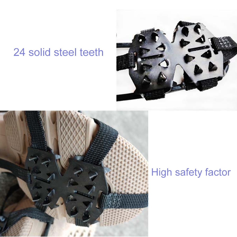 24 зуб усиленный лед коготь противоскользящий обувь чехол снег земля грязь зима альпинизм +прочный гвоздь обувь цепь для на открытом воздухе