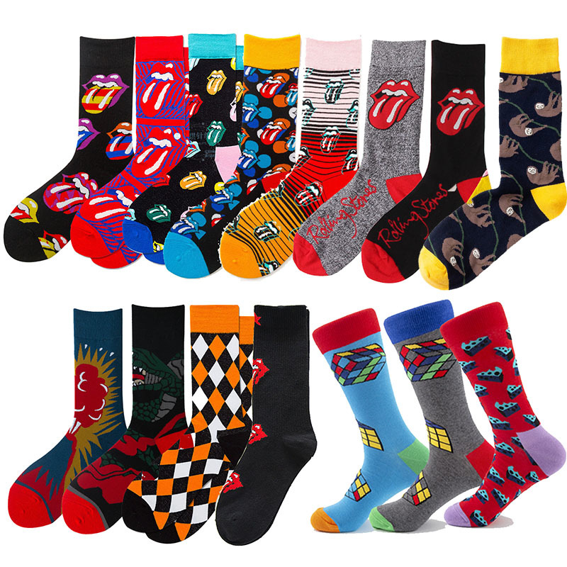 Over 200 Colors Happy Socks The Rock Tongue Tube Sloth Beatlesocks Streetwear Colorful Cotton Sock PH
