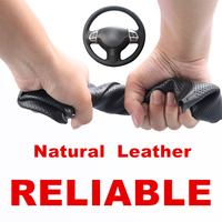 Hand Sewing Black Genuine Leather Car Steering Wheel Cover for Mitsubishi Lancer X 10 Outlander ASX Colt Pajero Sport