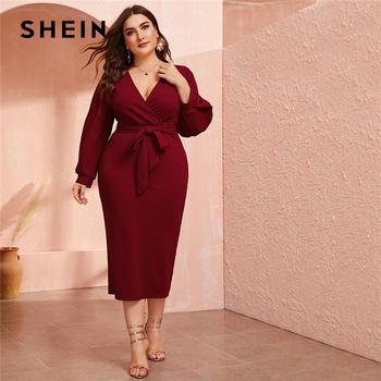SHEIN Plus Size Burgundy Plunging Neck Wrap Belted Pencil Long Dress Women Autumn High Waist Fitted Slit Wrap Party Sexy Dresses