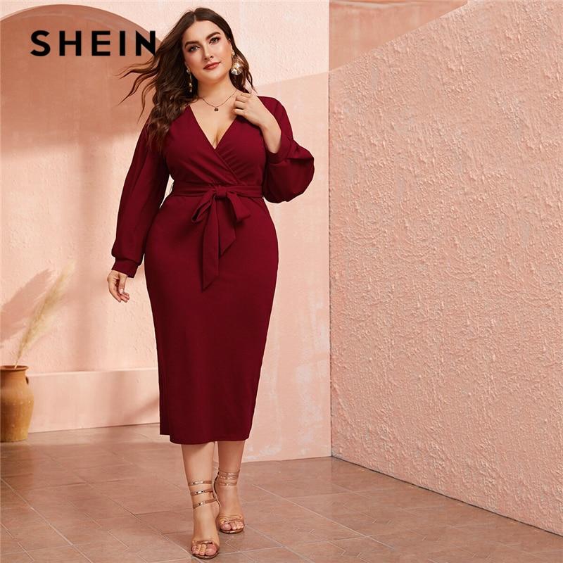 Женское платье карандаш с запахом SHEIN, бордовое длинное платье с глубоким вырезом и поясом, вечерние облегающие платья с высокой талией и разрезом на осень|Платья|   | АлиЭкспресс - Плюс-сайз платья