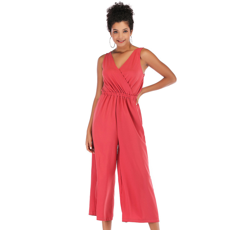 V Neck High Waisted Sexy Bodysuit Women Chiffon Solid Sleeveless Shoulder Backless Playsuit Female Loose Slim Jumpsuit Rompers