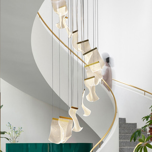 New Led chandeliers for home Modern duplex rotating staircase hotel villa loft hall suspension chandeliers lamp indoor lighting