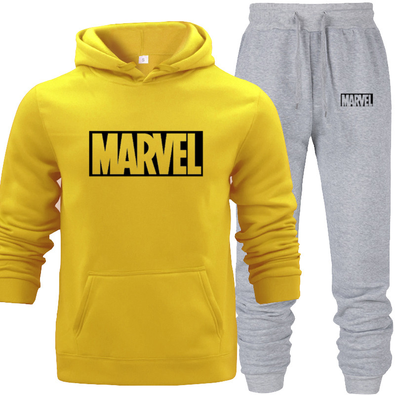 Hoodies Suit Yellow Men's Hooded Sweat Wear Sets With Pocket Warm Fleece Spring Autumn Street Hip-hop Lover's Match Sports Wear