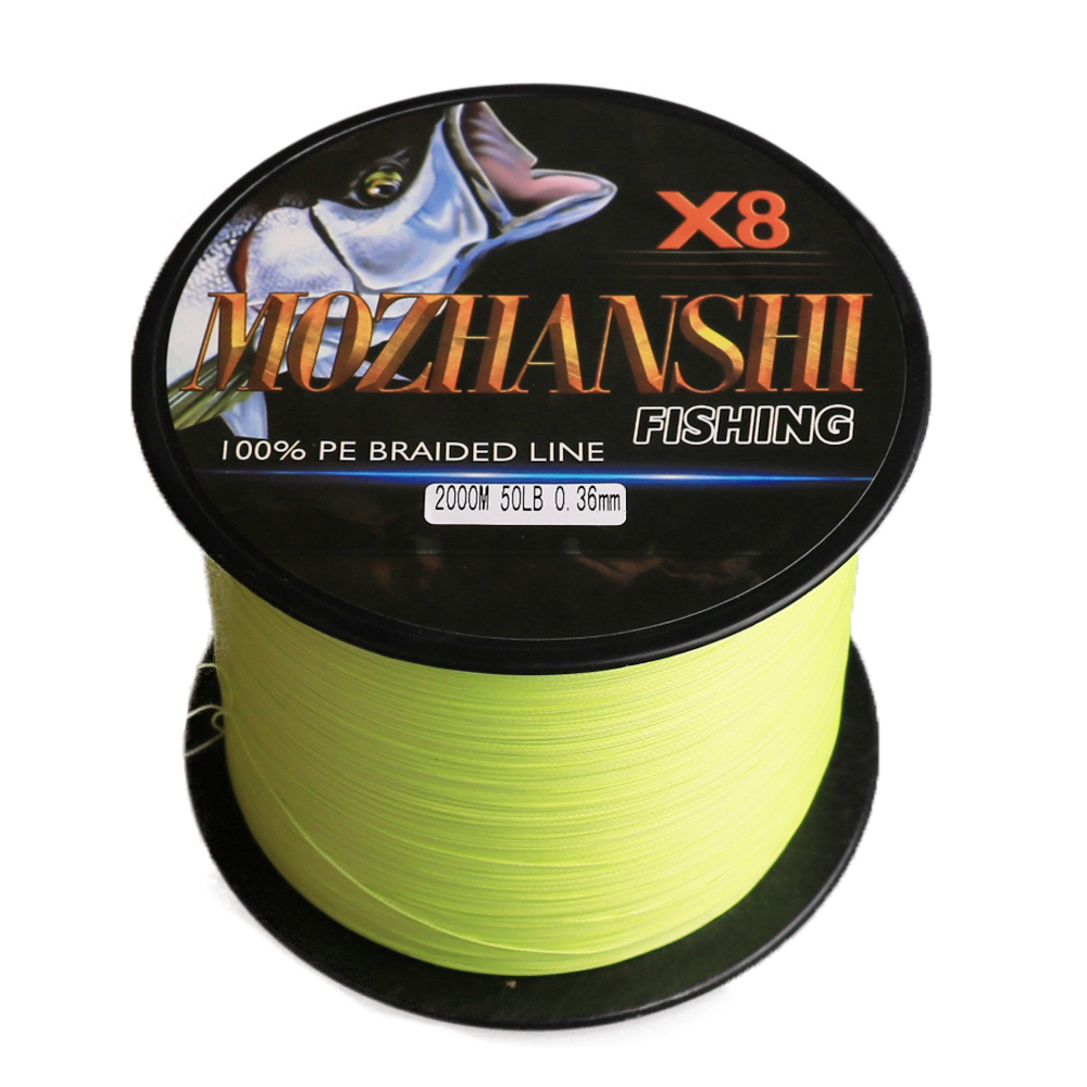 MOZHANSHI 2000M 8 Strands PE Multifilament Braided Fishing Line Wire 6-300LB All Colors
