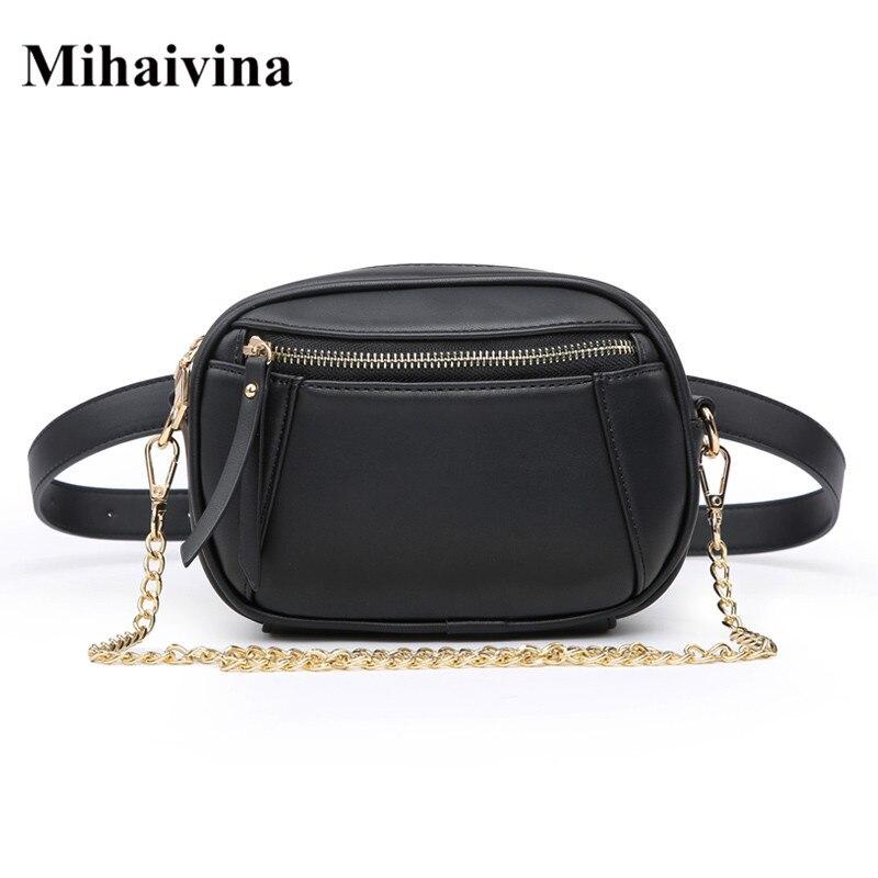 Mihaivina Black Fanny Pack Waist Bag Women Belt Bag Leather Shoulder Cross Body Bags Chain Handbag Female Pouch Phone Bag Hip