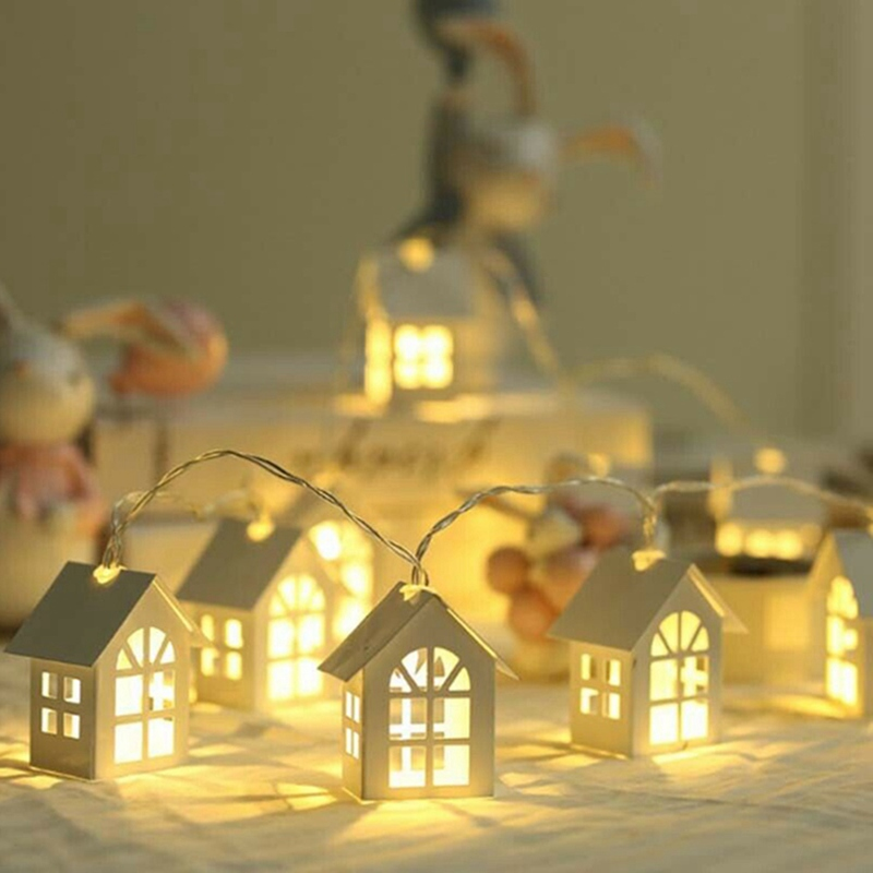 LED Garland Wood House String LED 1.5m 10LEDs Room Decor String Lamp Wedding/christmas Party Holiday Fairy Lights Novelty Lamp