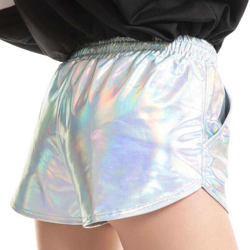 Adult Metallic Silver Shorts Women Elastic Waist Drawstring Booty Shorts Night Club Dancing Wear Workout Party Short Shorts
