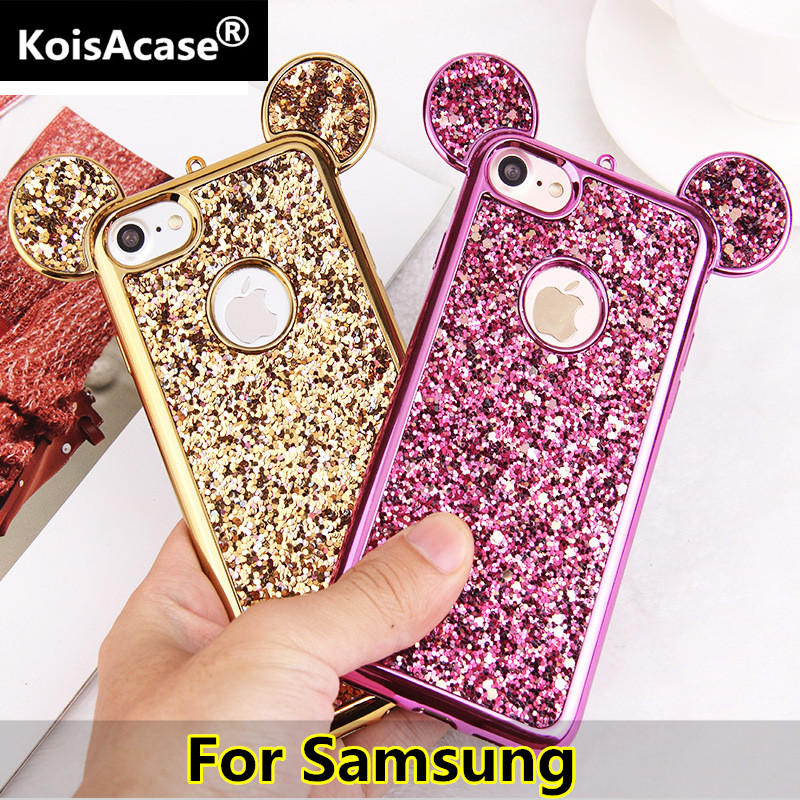 KoisAcase Cute Case For Samsung S6 S7 edge S8 S9 S10 Plus Luxury Rhinestone Glitter Bling 3D mouse ear Soft Silicone Phone Case image