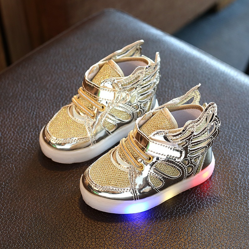 Toddler Glowing Sneakers Led Light Shoes With Wing Baby Girls Running Sport Shoes Fashion Kids Boys Luminous Shoes