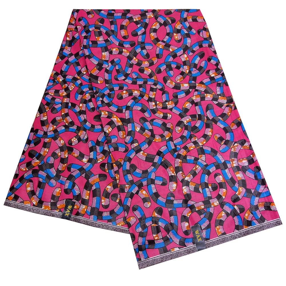 New African Dashiki Irregular Line Printed Colorful  Wax Fabric