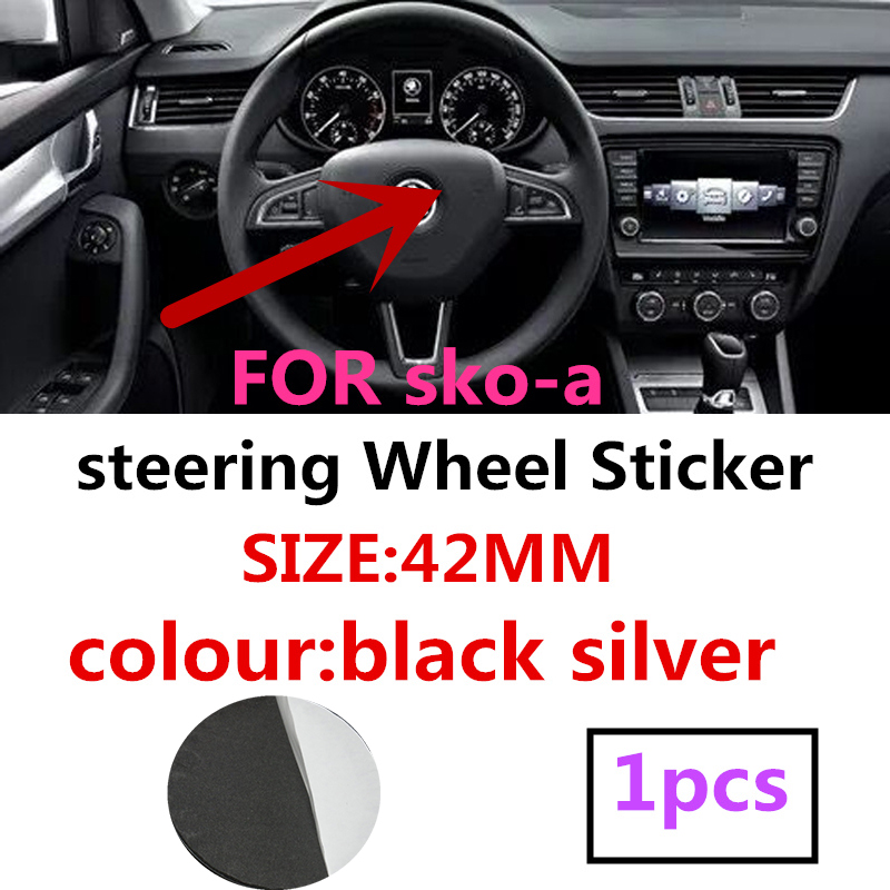 1pcs Black 42mm Metal Stickers Modification Or Change Car Styling Steering Wheel Logo For Skoda  Badge Emblem Decals Accessories