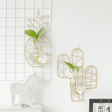 Wall Hanging Glass Hydroponic Iron Pineapple Home Living Room Bedroom Decoration  Flower Vase Nordic Ins
