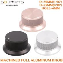 Botón de potenciómetro de volumen de aluminio macizo mecanizado, 50x25mm, tapa de Control de sonido, orificio de 6mm, Audio DIY, negro, plateado, dorado, 1 ud.