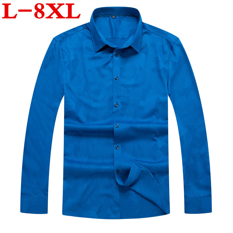 Large Size 8XL 7XL Men's Shirt  Long Sleeve Loose  New Fashion Designer  High Quality Print Men's Shirts For Business Shirts